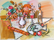 Charles Cobelle Still Life With Fish And Recorder Acrylic On Paper Signed L.r