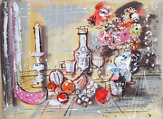 Charles Cobelle Still Life With Wine And Fruit 2 Acrylic On Paper Signed L.r.