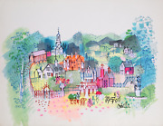 Charles Cobelle French Village Acrylic On Paper Signed L.r.