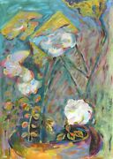 Miriam Yentel Roses And Folded Leaves Oil On Paper Signed L.r.