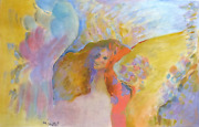 Miriam Yentel Roses And Folded Wings Oil On Paper Signed L.l.