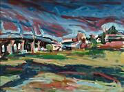 Alfred Sandford, Overpass To Manhattan, Acrylic On Arches, Estate Stamped Verso