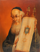 Abraham Straski Rabbi With Torah 13 Oil On Canvas On Wood Signed And Dated