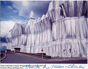 Christo And Jeanne-claude Wrapped Reichstag 2 Photograph Signed In Marker By
