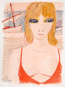 Charles Levier Portrait Of Blonde By Sailboat Watercolor On Paper Signed L.l.