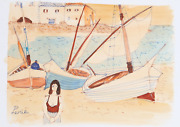 Charles Levier Woman On Shore By Sailboats Watercolor On Paper Signed L.l.