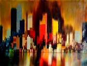 James Sherman Cityscape 2 Oil On Canvas Signed L.r.