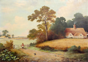 Unknown Artist, Farm Landscape With Mother And Child, Oil On Canvas, Signed 'n.