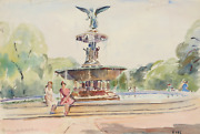 Elizabeth Gutman Kaye, Fountain In Central Park, Watercolor On Paper, Signed Low