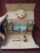 Vintage Coty Skin Care Powder And Lipstick Set In Vinyl Travel Case With Handle