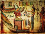 Framed Canvas Print Painting Old Egyptian Papyrus Isis Queen Women Wing