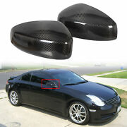 Carbon Fiber Mirror Covers Caps Fits 03-07 Infiniti G35 Coupe Left And Right Set