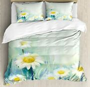 Ambesonne Flower Duvet Cover Set Daisies On Grass Mother Earth Impressionist Ex
