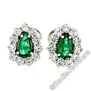 Vintage 18k White Gold 2.7ct Teardrop Pear Emerald And Round Diamond Halo Earrings