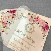 Floral Acrylic Wedding Invitation Fancy Shape With Envelope Liner Invitation New