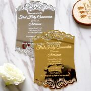 Laser Cut Personalized Acrylic Wedding Invitations Single Paged Party Supply New
