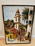 Vintage Paul Blaine Henrie Original Palette Knife Oil Spanish Piazza 24 X 36
