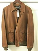 Rare New With Tags Mens Vintage Polo Distressed Leather Bomber Sz M