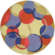 Contemporary Circular Coleman 21 Red Blue And Beige Wool Rug N0157