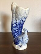 Vintage 1960andrsquos 8.5 Blue Ceramic Peacock Figure Vase Made In Japan