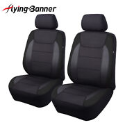 New 2 Front Universal Seat Covers Black Carbon Leather Arm Rest Back Pocket Mesh