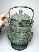 11.6and039and039 China Antique Bronze Teapot Ancient Old Brass Teapot Kettle