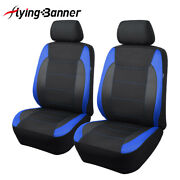 New 2 Front Universal Seat Covers Blue Carbon Leather Arm Rest Back Pocket Mesh