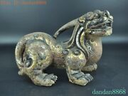 China Bronze Gilt Silver Feng Shui Animal Wealth Brave Troops Pixiu Beast Statue