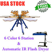 6 Color 6 Station Screen Printing Machine And 20 X 24 Automatic Ir Flash Dryer