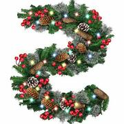 9 Foot By 10 Inch 100 Led Christmas Garland Battery Operated With Lightsprelit