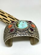 June Delgarito Royston Turquoise Spiny Oyster Shell Navajo Cuff Bracelet
