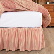 Vhc Brands Farmhouse Queen Ticking Stripe Bed Skirt Red Gathered Bedroom Decor