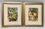 Set Of Disneyand039s 1942 Vintage Bambi Prints Matted In Gold Frames Each11 X 9.25