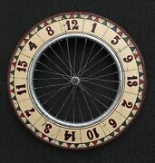 Vintage Carnival Wheel Game Of Chance - Hand Painted And Set On A Wooden Bike Rim