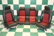 05-09 Mustang Shelby Gt500 Convertible Black Red Leather Pair Buckets And Backseat
