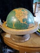 Vintage George F. Crams 12 World Globe With Stand 38'' Circumference