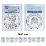 Lot Of 10 - 2020-s 1 Oz Proof Silver American Eagle Pcgs Pf 69 Dcam First Strike