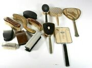 Vintage Lot Of 13 Pieces Antique Brushes And Handheld Mirrors Vanity Dresser Hair