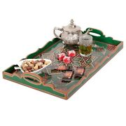 Hand Painted Decorative Tray, Moroccan Rustic Wood Green Dark Tray,serving Tray