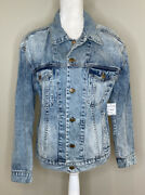 Pam And Gela Nwt 625 Womenandrsquos Button Up Denim Jacket Size Ps In Mulholland Wash I3