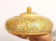 Vintage Old Collectible Hand Made Round Floral Wood+camel Bone Opium Trinket Box