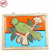 Old Vintage Parrot Wooden Hand Made Beads Photograph Framed Collectible 6163