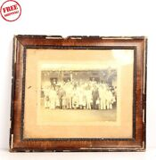 Old Vintage Group Photo Picture Framed Black And White Photograph Collectible 6095