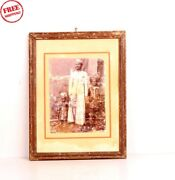 Old Vintage Wooden Framed Child Men B And W Print Photograph Collectible 5796