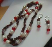 Mozambique Garnet, Red Glass And Freshwater Pearl Necklace And Earrings