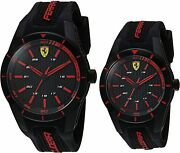 Ferrari Men's Women's Red Rev Black Silicone Band 38mm And 44mm Gift Set Watches