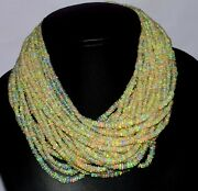 A++ 30strands 16inches Natural Ethiopian Welo Fire Opal Bead Wholesale Necklace