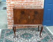 English Antique Mahogany Queen Anne Bar Cabinet With Light