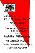 1963 Hockey Program Very First Game Team Canada Ever Played Fr Bauer Melville