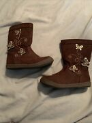 American Eagle Outfitter-girls Butterfly Zip Up Boots-chocolate Brown-size 8-euc